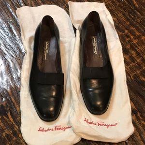 Black Salvatore Ferragamo tuxedo shoes -
